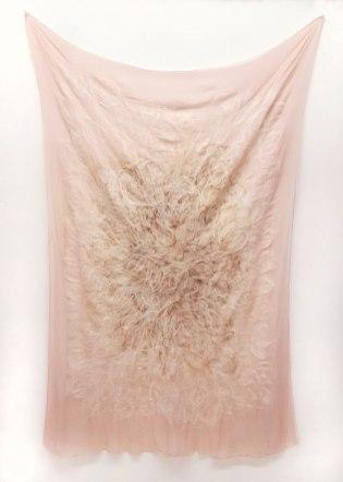 """derma (emanate) Silk, wool, hair, 72"""" H x 48"""" W, 2017"""