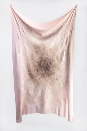 "derma (fester) Silk, wool, hair, 58"" H x 30"" W, 2016"