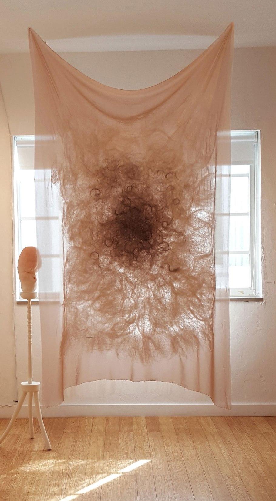 Michelle Laxalt, Installation shot of derma (fester) and Swell at Aqua Art Miami, 2016