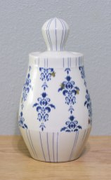 Wheel-thrown porcelain, underglaze and custom gold decals, cone 7 & 018 oxidation, 11x5.5x5.5""
