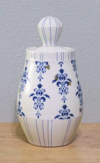 "Wheel-thrown porcelain, underglaze and custom gold decals, cone 7 & 018 oxidation, 11x5.5x5.5"""