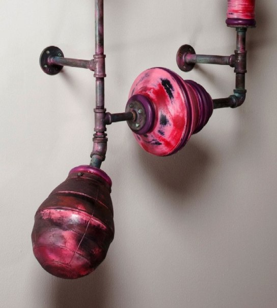 Oxidation-fired Stoneware, steel pipe, rubber and pool noodle, 2012