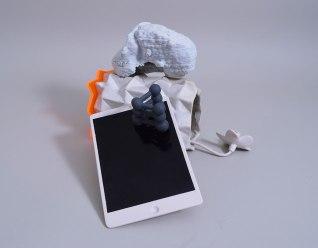 "2015, W13""xD12""xH8.5, 3D printed and cast porcelain, handbuilt stoneware, pexiglass"