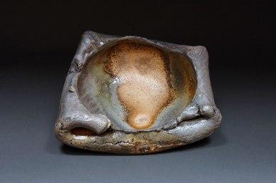 "Wood-fired stoneware, 3""x11""x8"""