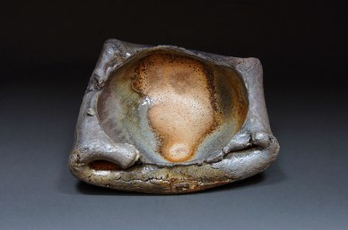 "Wood-fired stoneware, 3""x11""x8"""