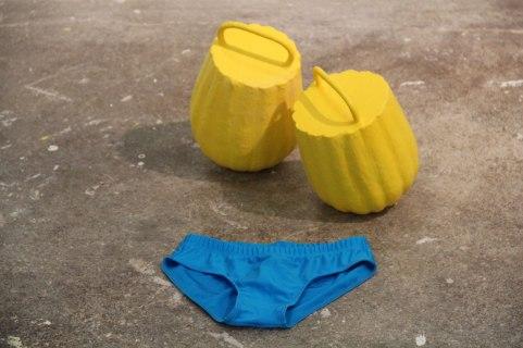 steel, ceramic, plaster, tool dip, mens bikini, 1'x2'x2', 2013