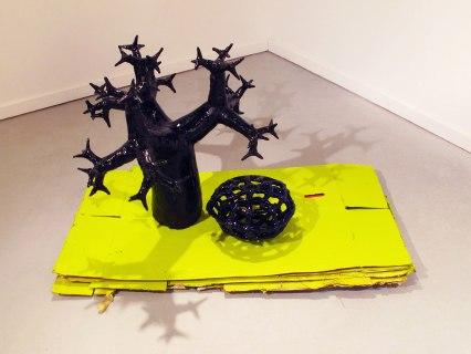 Stoneware, terracotta, glaze, paint, glitter, cardboard, 2013