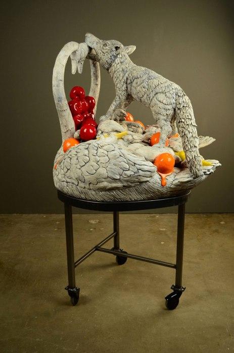 """52 x 30 x 30"""", ceramic, mixed media, 2010"""