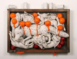 """2010, 36 x 10 x 31"""" ceramic, mixed media"""