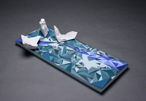 Stoneware and porcelain, mid-range glazes, 18.5x9x4 inches, 2017
