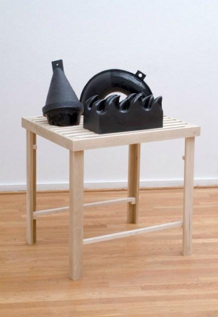 "Glazed Ceramic And Poplar, 38"" in Height, 2014"