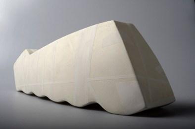 2014. Slab built, sanded, polished, under glazed (white). h18 x w29 x d18cm