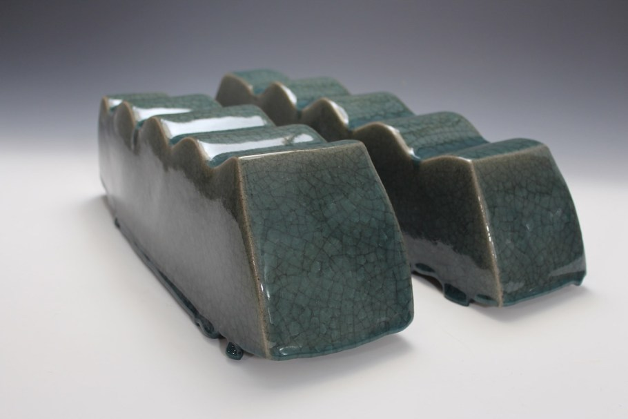 2014. Stoneware. Slab Built, sanded, Celadon Glaze. h16 x w44 x d16cm. Photo by Brian Misavage.