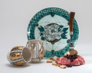 2015, Archival Pigment Print, 30 x 37.5 inches, Original Plate: Porcelain, Glaze, China-Paint, Gold Luster 10 x 2 inches