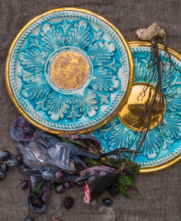 2013, Original Platter: Porcelain, Glaze, China-Paint, Gold Luster, 14 x 1 inches