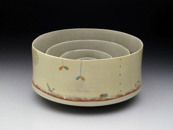 """2012, earthenware with slip, glaze, 8"""" x 15"""" x15"""""""