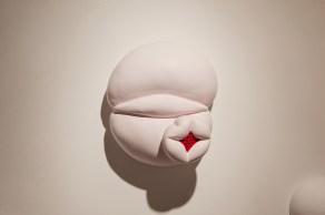 "detail view, ceramic, acrylic and sound, 11"" x 10"" x 6"", 2012"