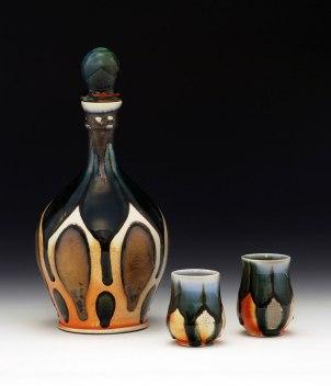 """Soda-Fired Porcelain, 12""""x6""""x6"""" (bottle w/ stopper)"""