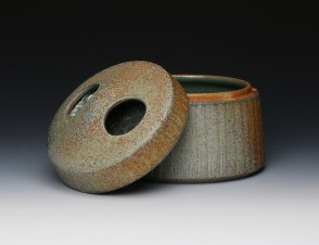8 x 9 x 9, Wheel thrown coarse stoneware with applied flashing slip and celadon glaze, soda fired to cone 10 in reduction