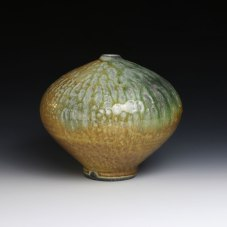 10 x 10 x 10, Wheel thrown iron stoneware with applied Yellow Salt and celadon glazes, soda fired to cone 10 in reduction.
