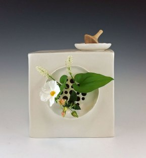 Clay, glaze, underglaze, flowers. 7.5 in x 3 in x 7.5 in each. Detail.