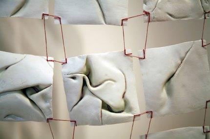 "26""w x 60""h x 1.5""d (in), Porcelain, glazes, tread, wood, 2014"