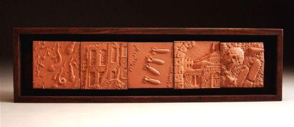 """terra cotta, wood frame, 2006, 4 1/4"""" x 15 1/2"""" x 1 3/4"""""""