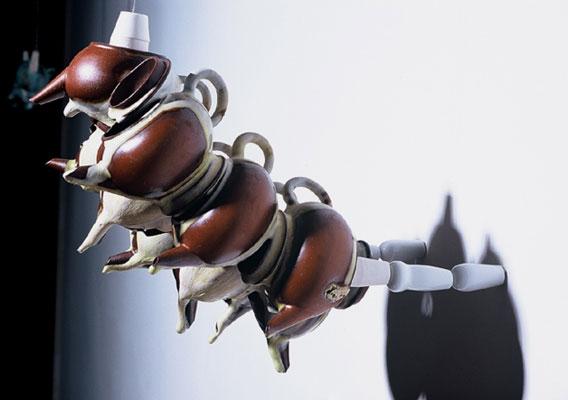"""Nymph # 2, 8""""h x 9""""w x 13""""d, Yixing teapots, Jingdezhen porcelain knobs, glazes, 2004"""