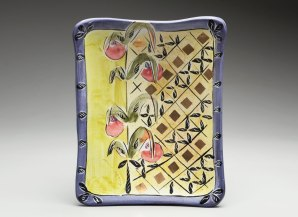 majolica on terra cotta, 2.5x10x7 inches, electric fired CO4, 2015