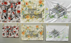 reclaimed Pillow cases, embroidery thread, 2014