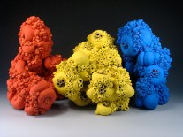 """aloinopsis series, clay, engobe, & glaze, 8 X 7 X 6"""" (approximate dimension of each form)"""