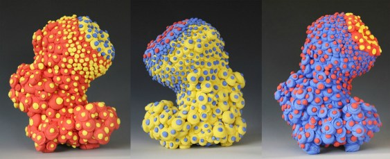 """bloom series, colored porcelain, 7.5 X 4.5 X 5"""" (approximate dimension of each form)"""