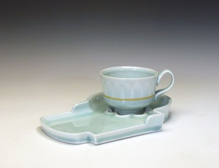 reduction fired porcelain, decals, 3 ½ x 10 x 8