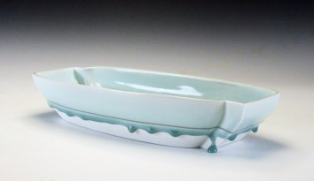 reduction fired porcelain, decals, 2 ¾ x 6 ¾ x 15