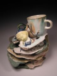 "Sleep/Submerge, 8""h x 8""w x 9""d, post-consumer ceramic found objects, porcelain, glaze, 2007"