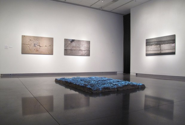 2013, Unfired clay, video projection, 4'' x 66'' x 102''