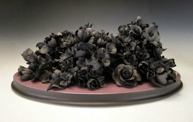 "hand formed black clay, resin, wood, 25"" x 16"" x 9.5"""