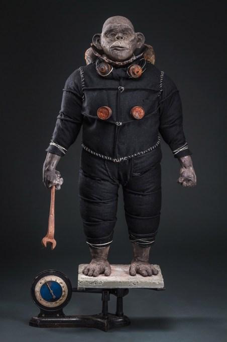 """Earthenware, wool, concrete, found objects, underglaze, 54x25x17"""", 2017"""