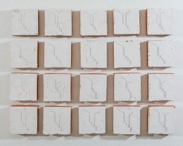 "earthenware, terra sigilata, graphite, 2016, 43"" x 35"" x 2.5"" (each 7"" x 7"" x 2.5"")"