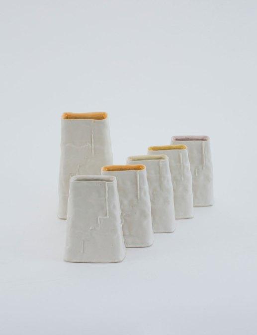 "large: 7.5"" x 4"" x 2.5"", small: each 5"" x 4"" x 2"", porcelain, 2017"