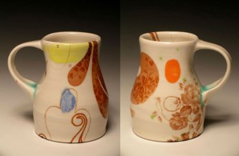 "5""w x 6""h, mid-range porcelain, oxidation, with laser transfers"