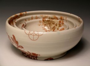 """12""""w x 6""""h, mid-range porcelain, oxidation, with laser transfers"""