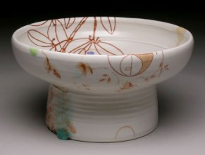"""7.5""""w x 5""""h, mid-range porcelain, oxidation, with laser transfers"""