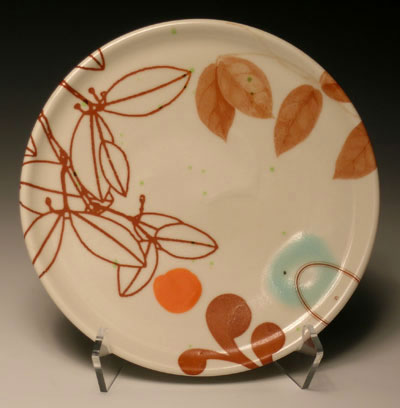 """7""""w x 1""""h, mid-range porcelain, oxidation, with laser transfers"""