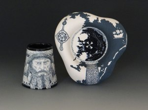 """Slab built English Porcelain, hand-painted color slip, glaze fired to cone 6 electric. Cup 2 ½""""x1 ¼""""x1 ¼"""", Saucer 4""""x3""""x1"""". 2015"""