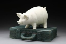 "Raft Lake Fable: ""ask your father"", hand built stoneware and slip cast porcelain, cone 6 oxidation, 11""Hx16""Wx12""D"
