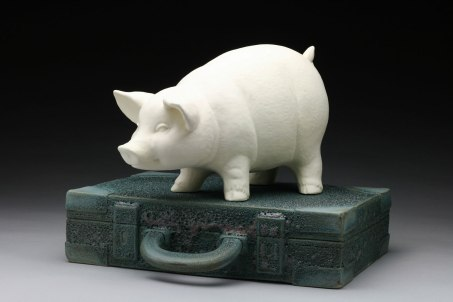 """Raft Lake Fable: """"ask your father"""", hand built stoneware and slip cast porcelain, cone 6 oxidation, 11""""Hx16""""Wx12""""D"""