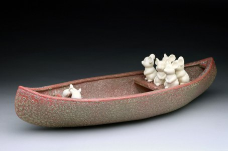 """Raft Lake Fable: """"careful what you wish for"""", hand built stoneware and slip cast porcelain, cone 6 oxidation, 5.5""""Hx22""""Wx8""""D"""