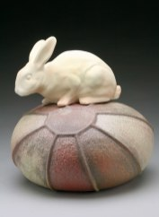 """Raft Lake Fable: """"voice of reason"""", hand built stoneware and slip cast"""