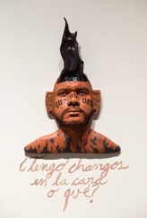 Do I have monkeys in the face or what?; Ceramic, oil, graphite and gold luster